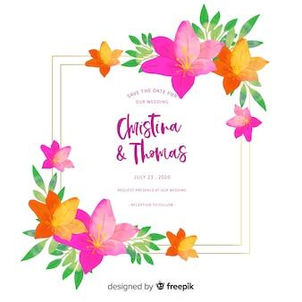 Convite de casamento floral colorido