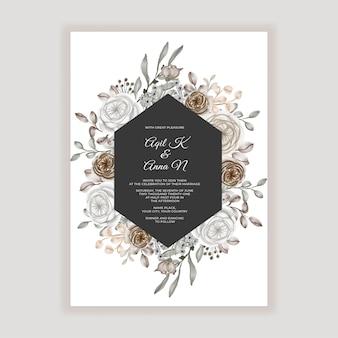 Convite de casamento floral com decoração de flor de caramelo marrom
