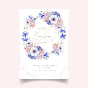 Convite de casamento floral com flor anêmona e suculenta