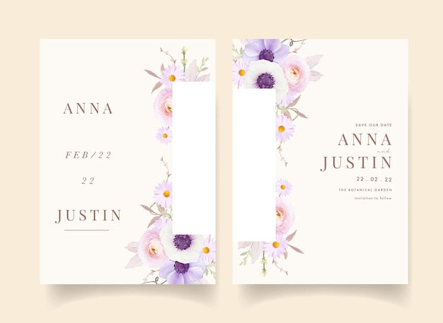 Convite de casamento floral com flor de anêmonas em aquarela