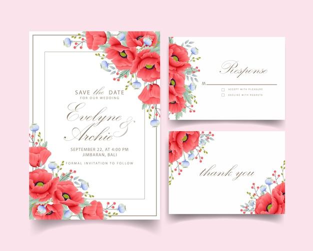 Convite de casamento floral com flor de papoula