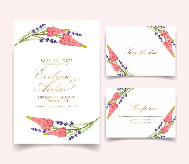Convite de casamento floral com flor de tremoço e lavanda