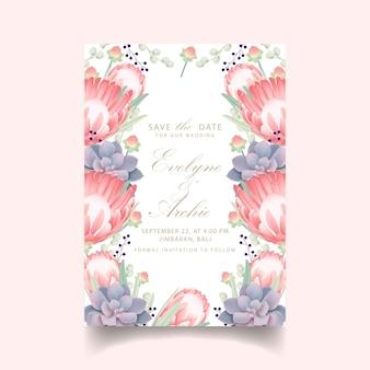 Convite de casamento floral com flor protea e suculenta