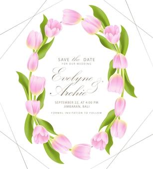 Convite de casamento floral com flor tulipa rosa