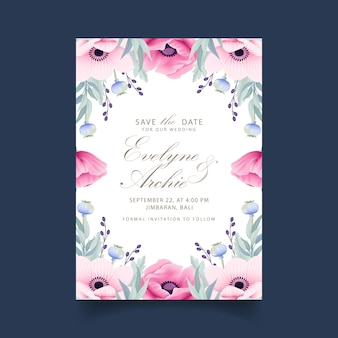 Convite de casamento floral com flores de anêmona e papoula