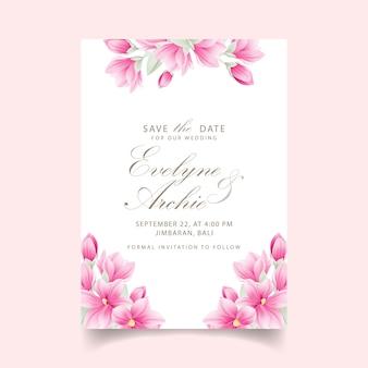 Convite de casamento floral com flores de magnólia