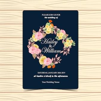 Convite de casamento floral com flores de outono e folhas