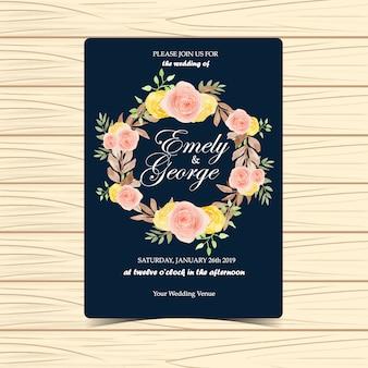 Convite de casamento floral com flores de outono
