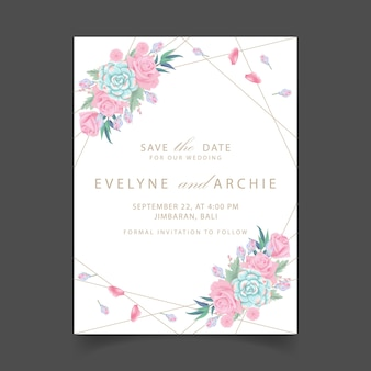 Convite de casamento floral com flores rosas e suculentas