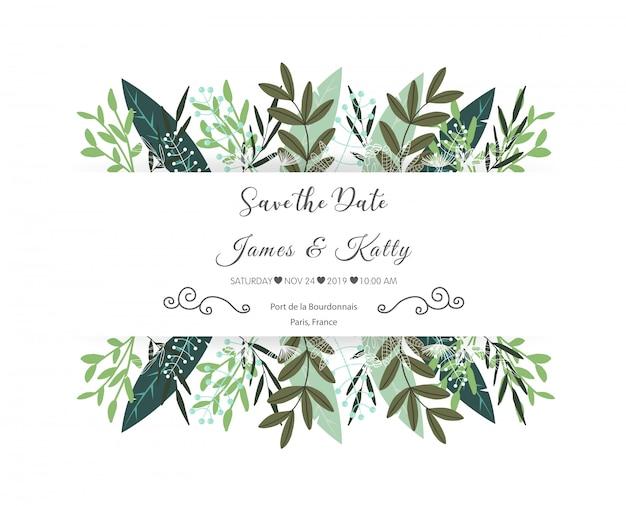 Convite de casamento floral com folhas ornamentais