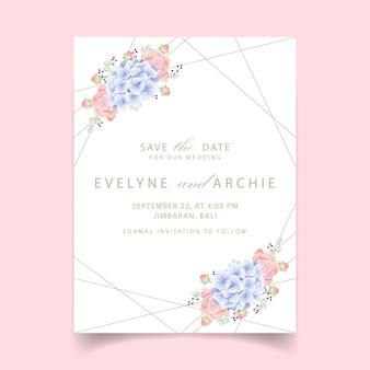 Convite de casamento floral com hortênsia e suculenta