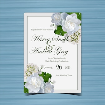 Convite de casamento floral com lindas flores brancas