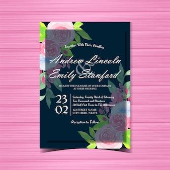Convite de casamento floral com lindas rosas azuis e rosa Vetor Premium