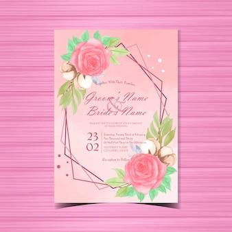 Convite de casamento floral com lindas rosas vermelhas em aquarela