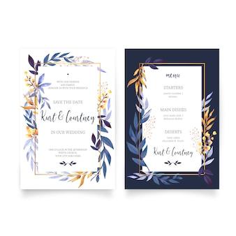 Convite de casamento floral com modelo de menu