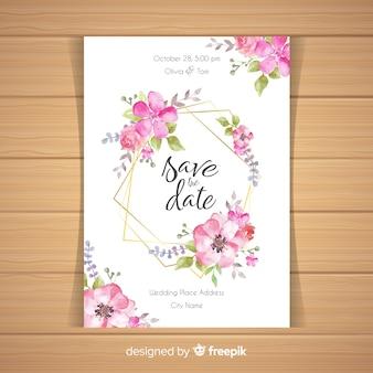 Convite de casamento floral com moldura dourada