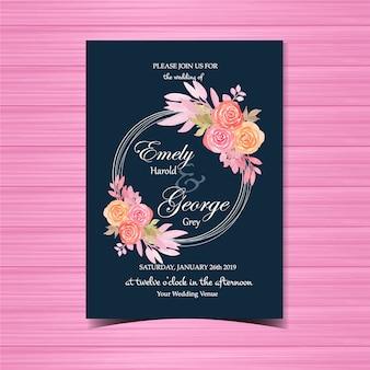 Convite de casamento floral com moldura linda flor