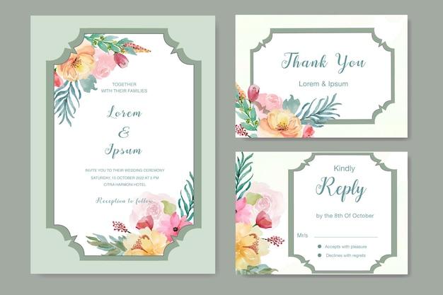 Convite de casamento floral com molduras