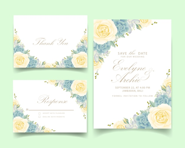 Convite de casamento floral com rosa branca e suculenta