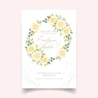 Convite de casamento floral com rosa branca