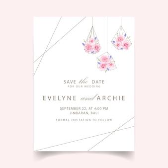Convite de casamento floral com rosa e muscari flor
