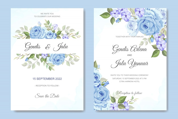 Convite de casamento floral com rosas azuis