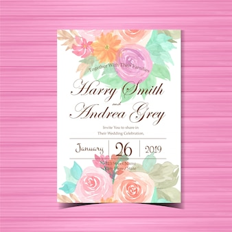 Convite de casamento floral com rosas coloridas