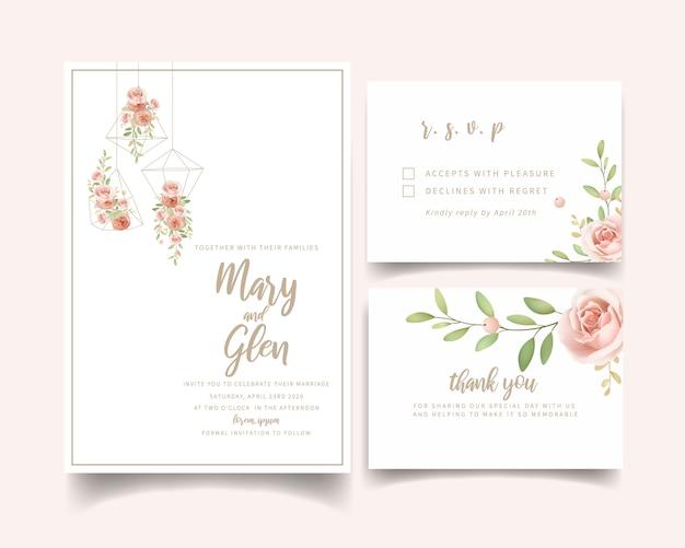 Convite de casamento floral com rosas de jardim florais