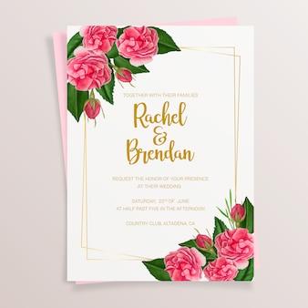 Convite de casamento floral com rosas em aquarela