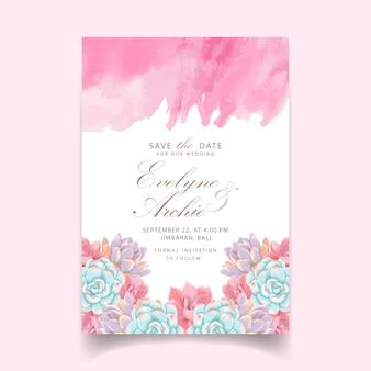Convite de casamento floral com suculentas