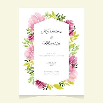 Convite de casamento floral com um quadro
