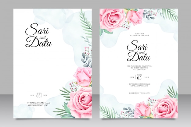 Convite de casamento floral conjunto aquarela modelo