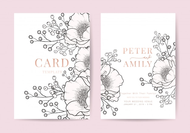Convite de casamento floral convidar modelo de design de cartão de luxo