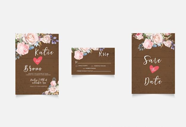 Convite de casamento, floral convidar salvar o cartão de data rsvp moderno design