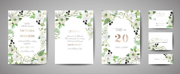 Convite de casamento floral convite obrigado rsvp cartão rústico