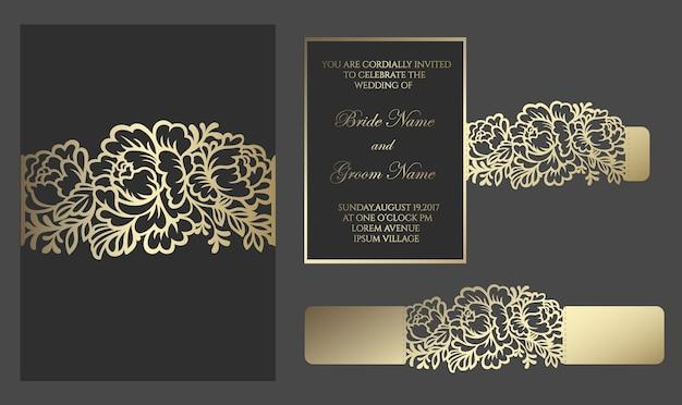 Convite de casamento floral cortado a laser. borda de renda, embrulho de cartão. design de envelope slide inn para plotter de corte.