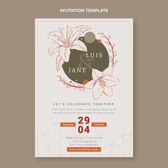 Convite de casamento floral desenhado à mão