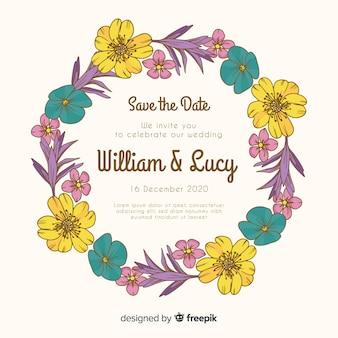 Convite de casamento floral desenhado de mão