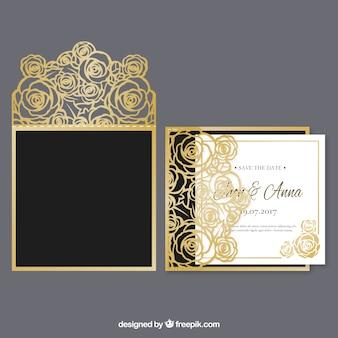 Convite de casamento floral dourado
