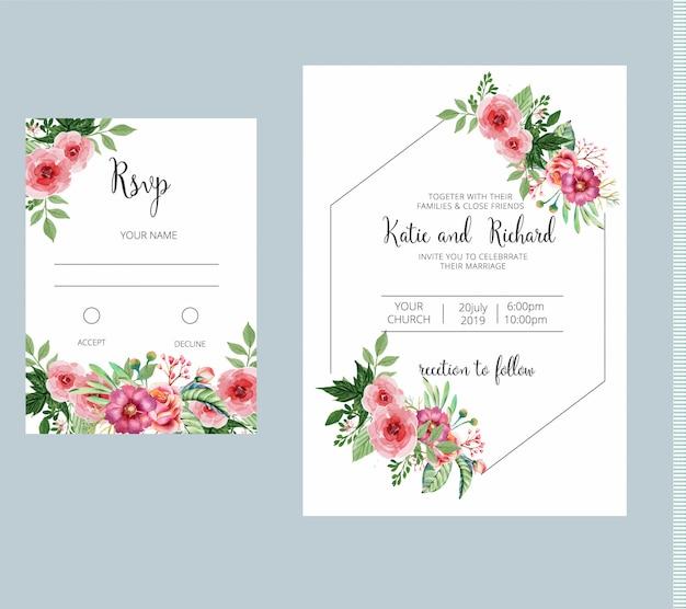 Convite de casamento floral e conjunto de modelo de cartão de rsvp