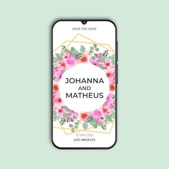 Convite de casamento floral e dourado geométrico para smartphone