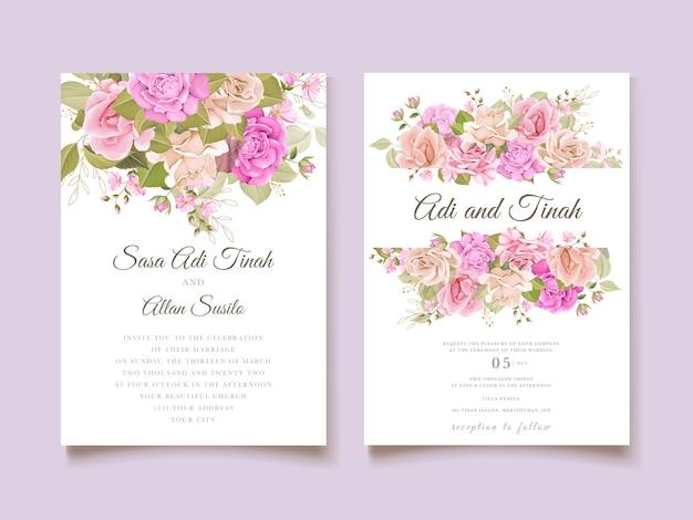 Convite de casamento floral e modelo de cartão de folhas