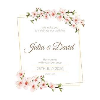 Convite de casamento floral editável