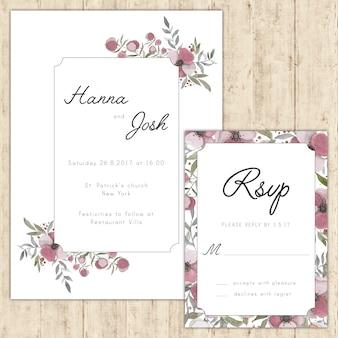 Convite de casamento floral elegante e cartão de rsvp