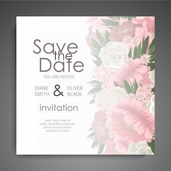 Convite de casamento floral elegante vetor de cartão de convite