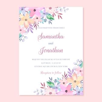 Convite de casamento floral em aquarela, cartão de fronteira floral pintado