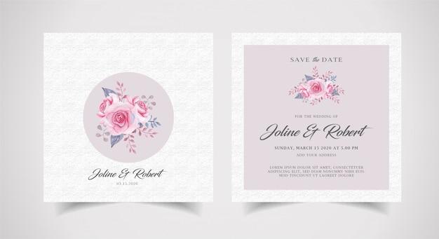 Convite de casamento floral em aquarela com modelo de plano de fundo de textura