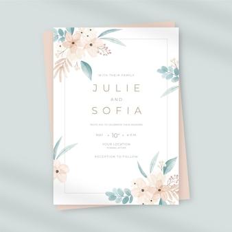 Convite de casamento floral em aquarela pintado à mão