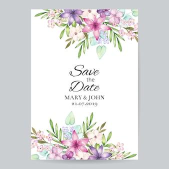 Convite de casamento floral em aquarela