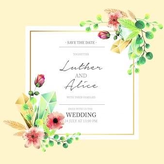 Convite de casamento floral em estilo aquarela